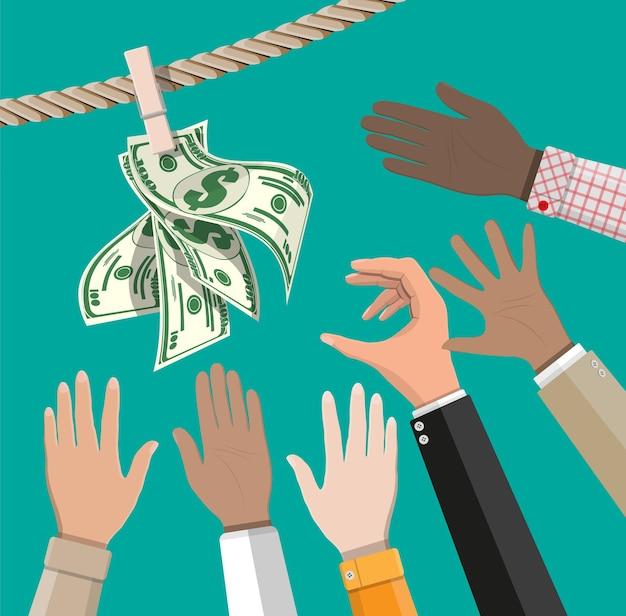 Notas de dólar molhadas penduradas em uma corda presa com alfinetes de roupa. conceito de lavagem de dinheiro. dinheiro sujo. Vetor Premium