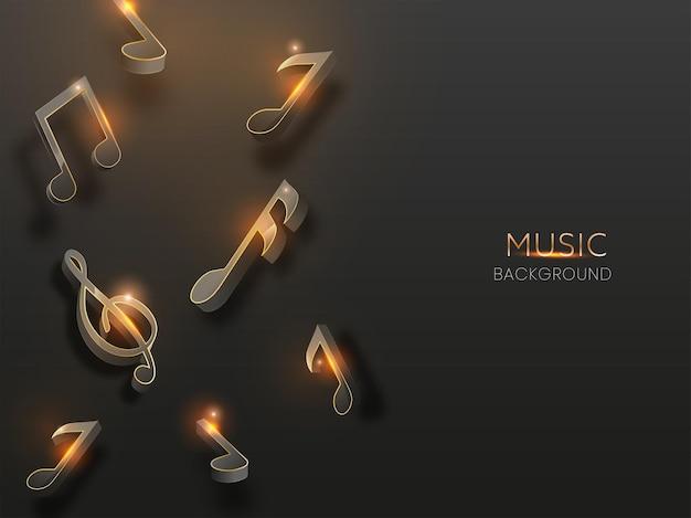 Notas de música 3d decoradas em fundo preto com efeito de luzes.