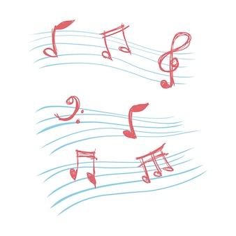 Notas de música do doodle