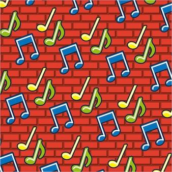 Notas de música doodle padrão