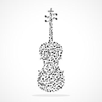 Notas de música formando um violino