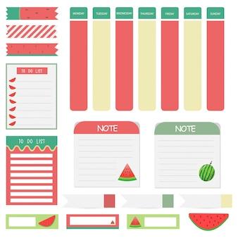 Notas de papel bonito conjunto com temas de melancia. projeto de papel banner para mensagem.