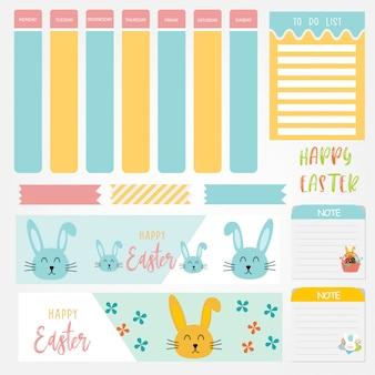 Notas de papel bonito conjunto com temas do dia de páscoa. projeto de papel banner para mensagem.