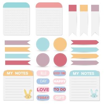 Notas de papel bonito conjunto. design de bandeira de papel para mensagem.