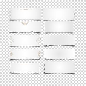 Notas de papel branco em conjunto transparente
