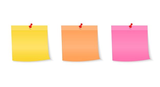 Notas de papel de coleção fixadas por um botão. notas para a mensagem.