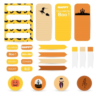 Notas de papel de halloween bonito conjunto. design de banner de papel para mensagem