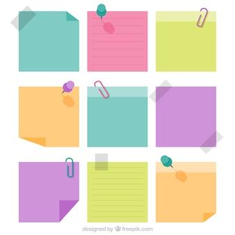 Notas de papel decorativas em cores pastel