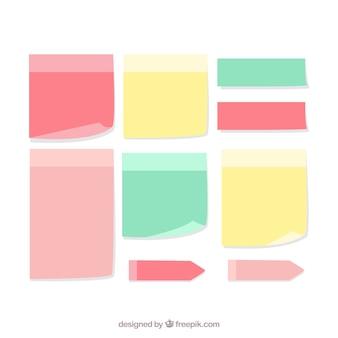 Notas de papel decorativo com diferentes cores e desenhos Vetor grátis
