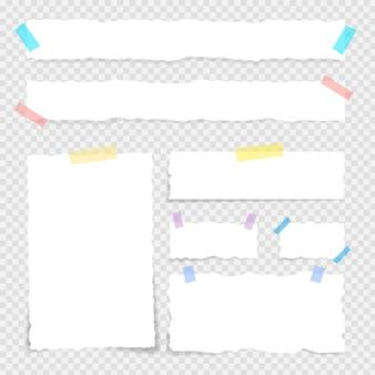 Notas de papel e adesivos. papel velho do grunge, folhas de papel rasgadas, folhas quadradas do bloco de notas e elementos de fixação do papel.