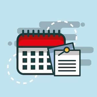 Notas de papel no escritório de planejador de lembrete de calendário