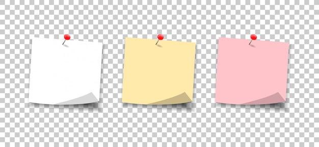 Notas de papel presas com um botão. defina notas de adesivos para a mensagem.