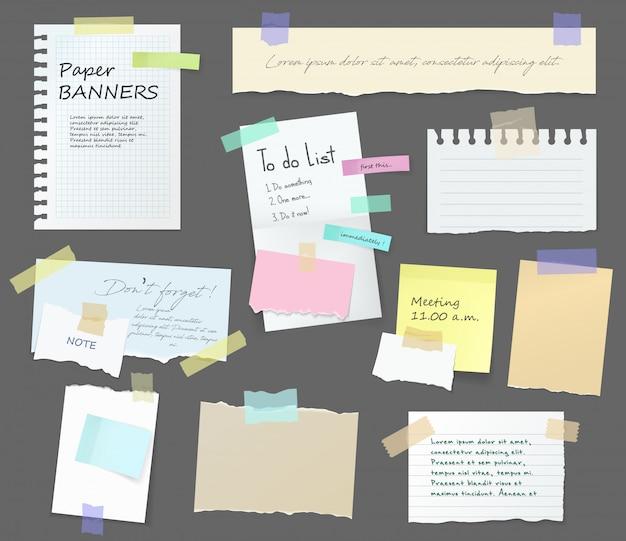 Notas de papel, quadro de mensagens memorando em adesivos