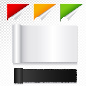 Notas de papel retângulo realistas com cantos enrolados