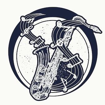 Notas de saxofone e música