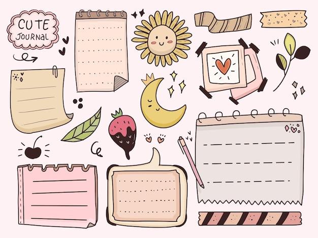 Notas decorativas de doodle de planejador estético e fofo