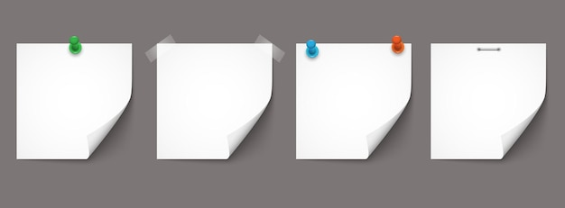 Notas do livro branco e adesivos com sombras isoladas em fundo cinza. conjunto de vetores de lembretes de papel, modelos de vetor realistas