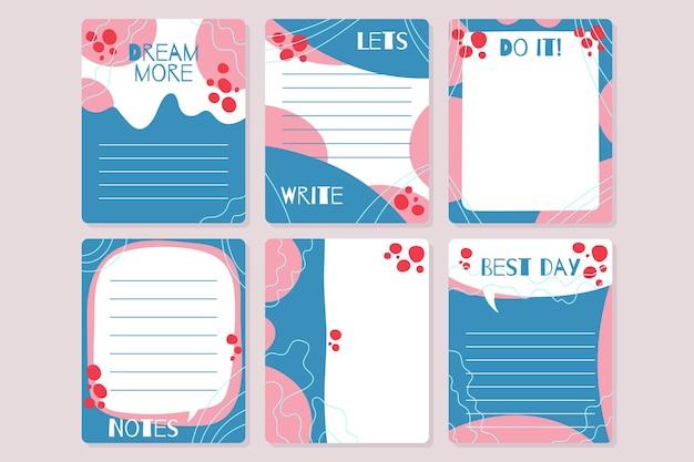 Notas e cartões decorativos do álbum de recortes Vetor grátis