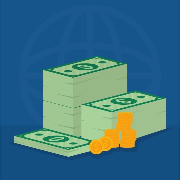 Notas e moedas de dinheiro