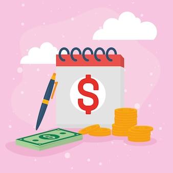 Notas e moedas do calendário fiscal