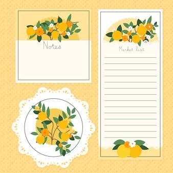 Notas em branco dos artigos de papelaria da cozinha do limão