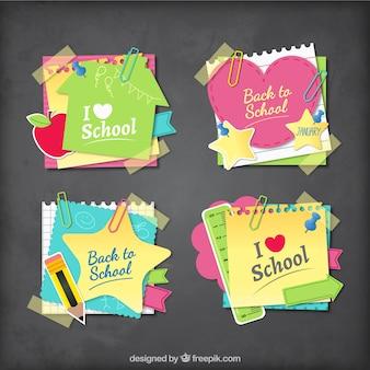 Notas escolares coloridas