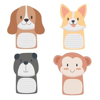 Notas fofas com desenhos animados de animais bebê fofo