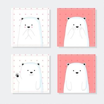 Notas fofas com estilo de mão desenhada bonito urso dos desenhos animados