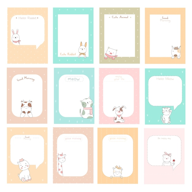 Notas fofas com estilo de mão desenhada cartoon bebê fofo animal