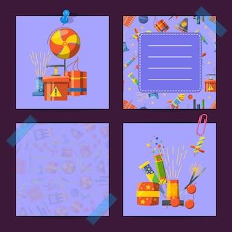 Notas fofos coloridas do conjunto com ilustração de pirotecnia dos desenhos animados