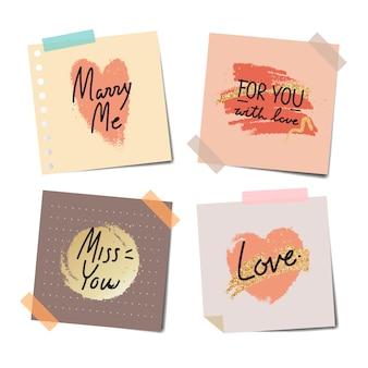 Notas gravadas de mensagens doces