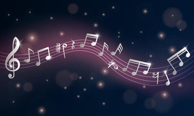 Notas musicais. cartaz musical, sinfonia de notas de prata. folheto de anúncio de concerto ou evento de piano. parede de aduelas de onda de brilho retrô. ilustração de música aguda, melodia clássica de clave, melodia de tom