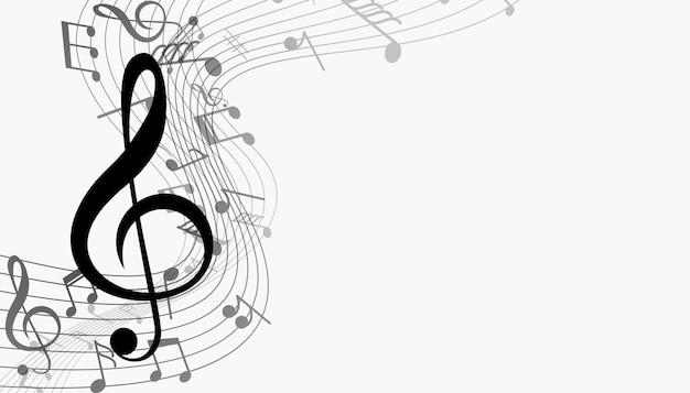 Notas musicais com fundo de onda sonora