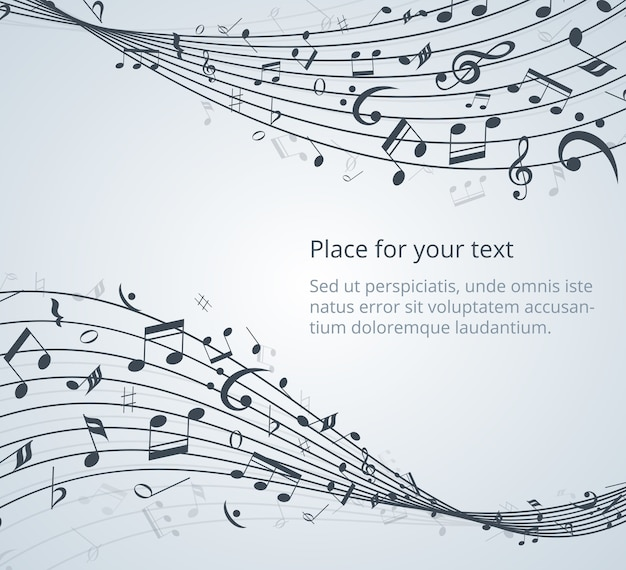 Notas musicais de fundo vector com espaço para seu texto