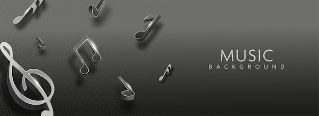 Notas musicais de renderização 3d decoradas em fundo preto pontilhado. banner ou design de cabeçalho.