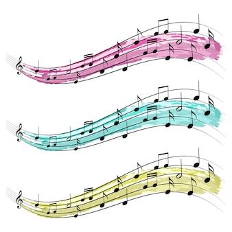 Notas musicais design de vetor de elemento gráfico de fita para concertos e música