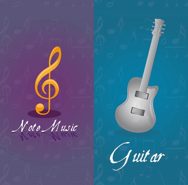 Notas musicais e violão