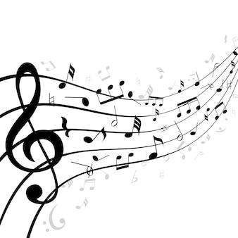 Notas musicais em uma pauta ou pauta