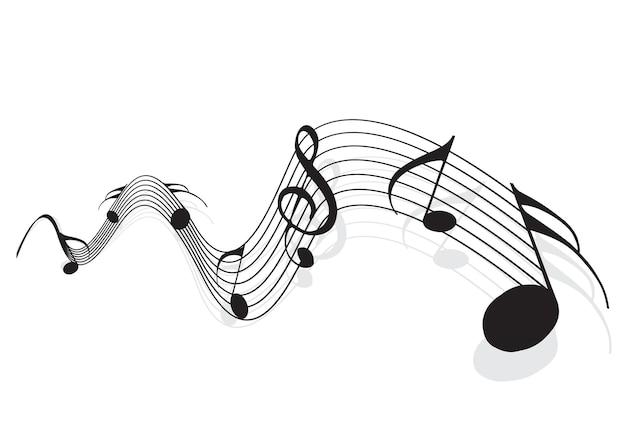 Notas musicais para uso em design, ilustração vetorial