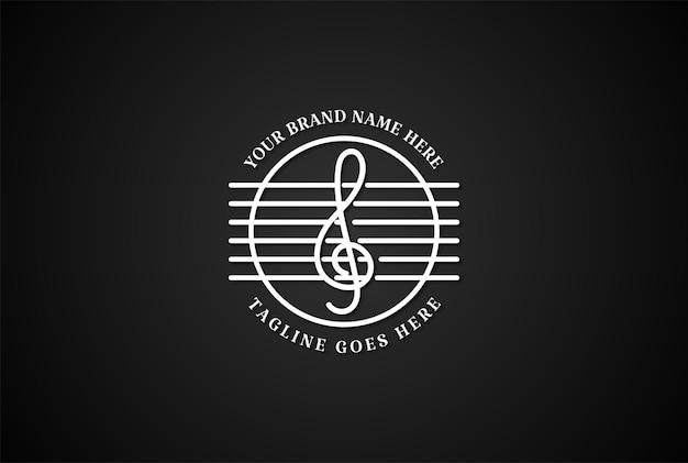 Notas musicais retrô vintage e vetor de design de logotipo de corda de guitarra