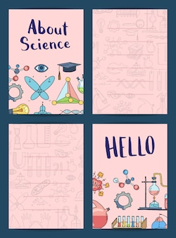 Notas ou modelos de cartão com ciência esboçada ou elemento de química