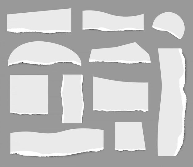 Notas rasgadas. corte a tira de papéis brancos coleção rasgada notas modelo realista