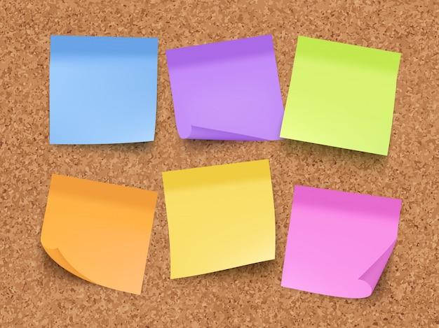 Notas vazias pegajosas. placa de cortiça na parede com papéis coloridos de memorando com pinos e clipes modelo realista de vetor