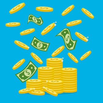 Notas verdes e dinheiro de moedas