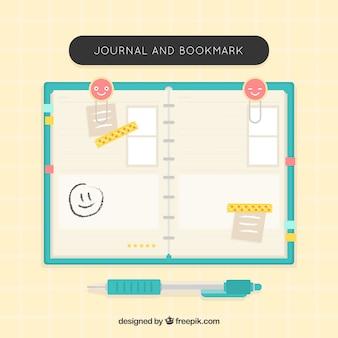 Notebook agradável com acessórios em design plano