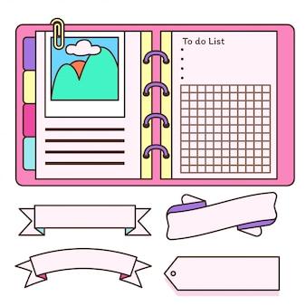 Notebook com etiqueta de decoração