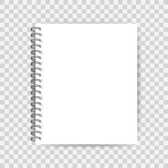 Notebook com página em branco