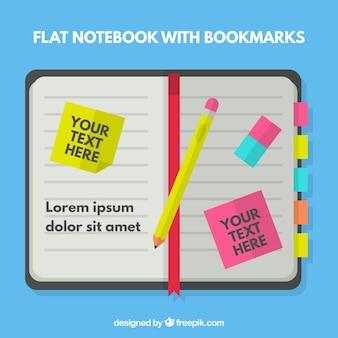 Notebook estilo plano com notas