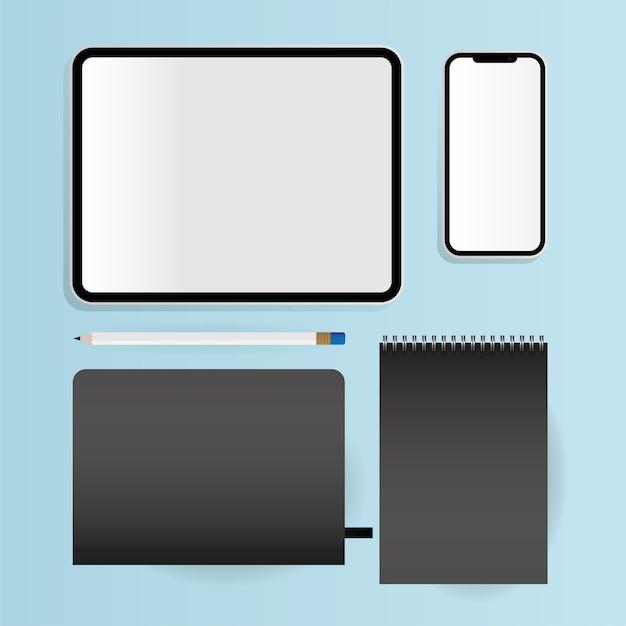 Notebooks de maquete design de tablet e smartphone de modelo de identidade corporativa e tema de marca