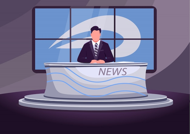 Notícia transmitida com ilustração colorida plana